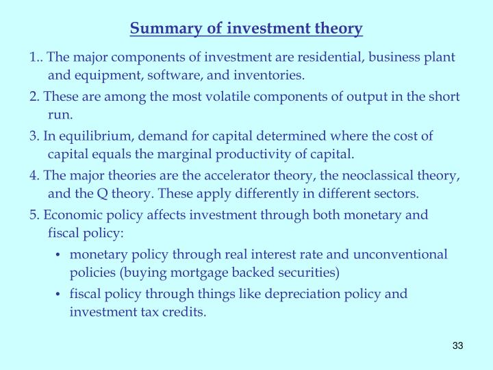 Summary of investment theory