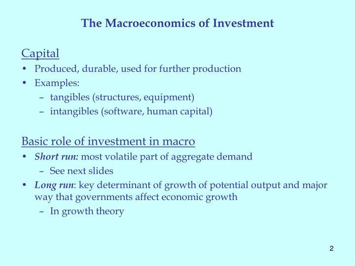 The Macroeconomics of Investment