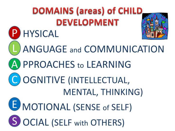 DOMAINS (areas) of CHILD DEVELOPMENT