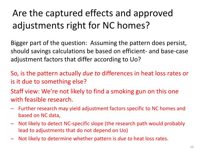 Are the captured effects and approved adjustments right for NC homes?