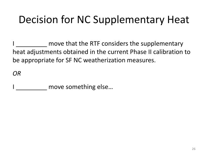 Decision for NC Supplementary Heat