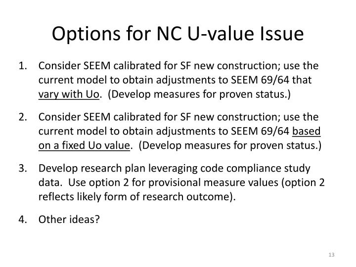 Options for NC U-value Issue