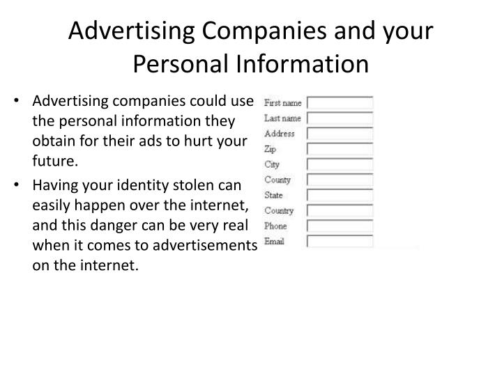 Advertising Companies and your Personal