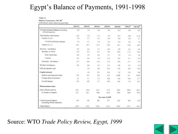 Egypt's Balance of Payments, 1991-1998