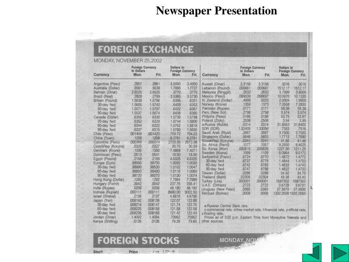 Newspaper Presentation