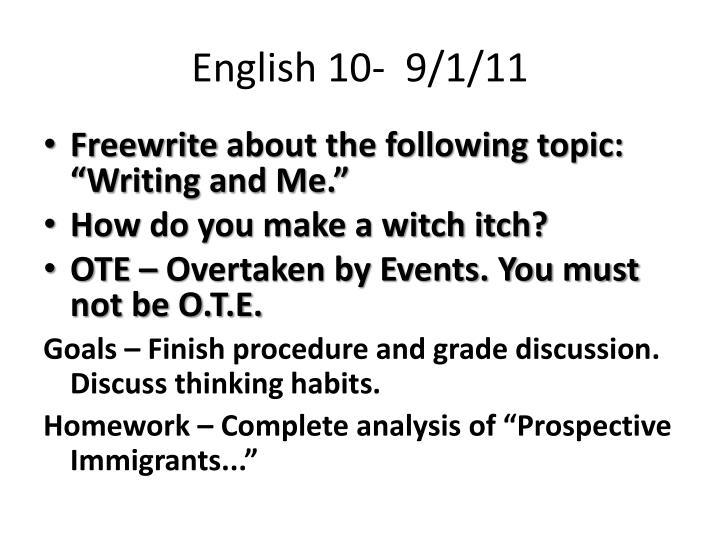 English 10-  9/1/11