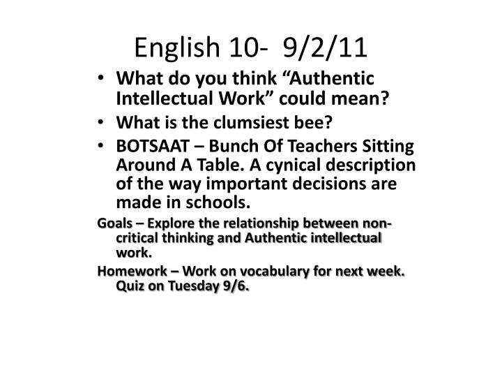 English 10-  9/2/11