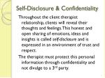 self disclosure confidentiality
