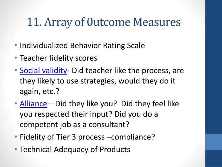 11. Array of 0utcome Measures