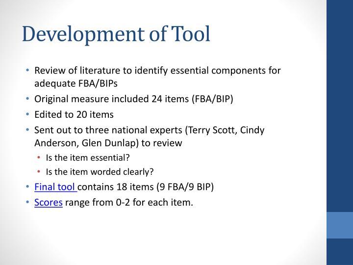 Development of Tool
