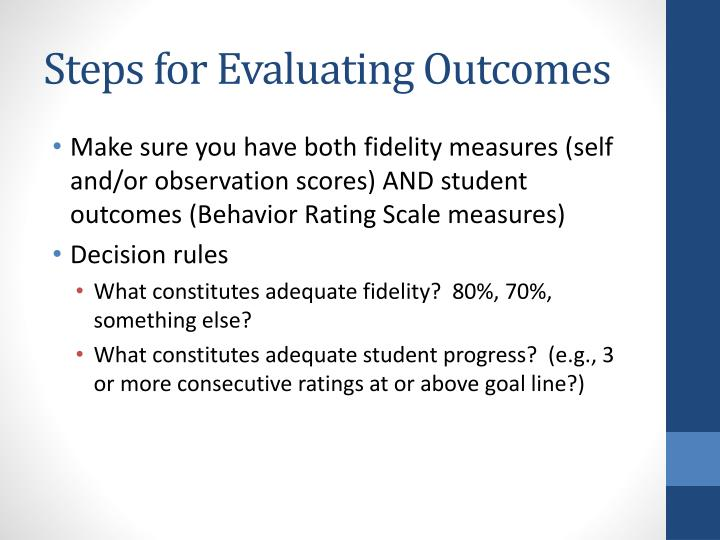 Steps for Evaluating Outcomes