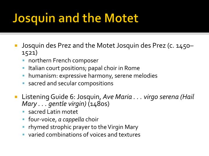Josquin and the motet