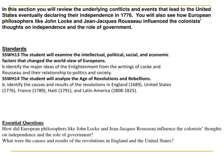 In this section you will review the underlying conflicts and events that lead to the United States e...