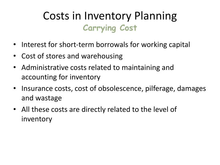 Costs in Inventory Planning