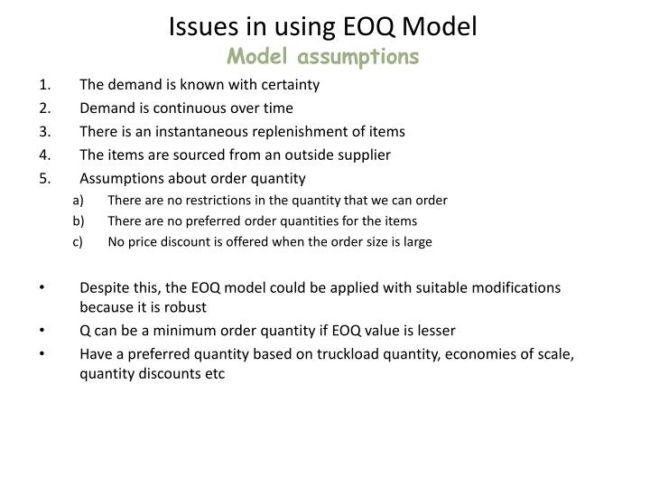 Issues in using EOQ Model