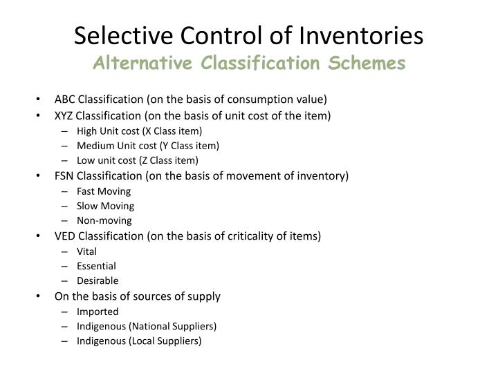 Selective Control of Inventories
