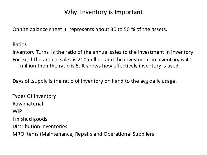 Why  Inventory is Important