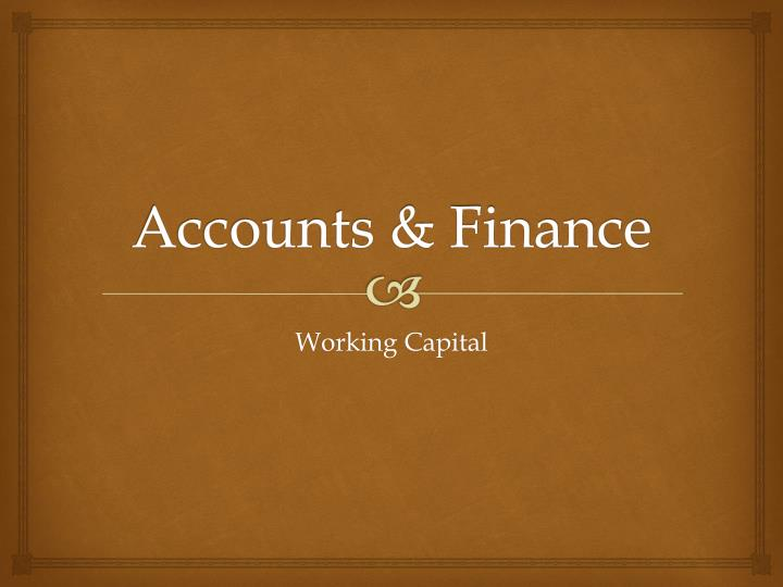 Accounts finance