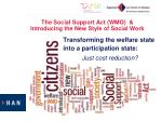 the social support act wmo introducing the new style of social work