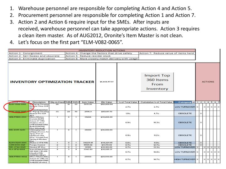 Warehouse personnel are responsible for completing Action 4 and Action 5.