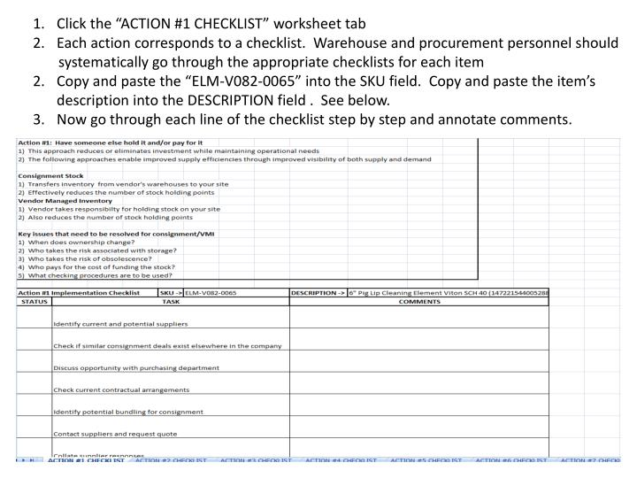 """Click the """"ACTION #1 CHECKLIST"""" worksheet tab"""