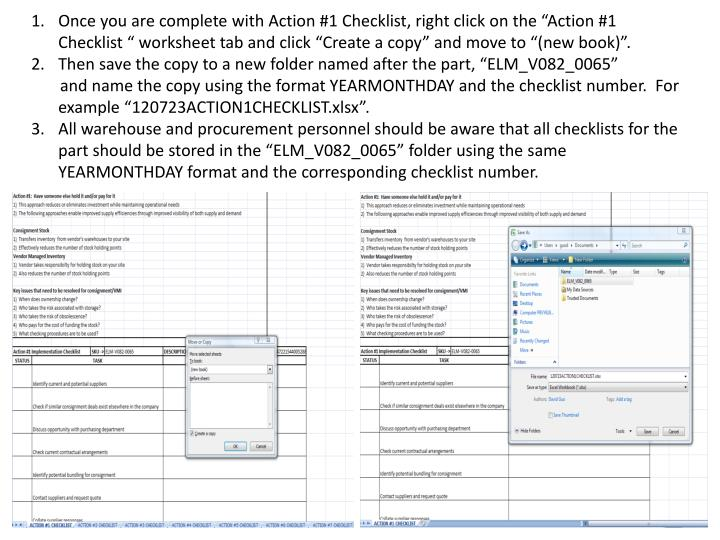 """Once you are complete with Action #1 Checklist, right click on the """"Action #1 Checklist """" worksheet tab and click """"Create a copy"""" and move to """"(new book)""""."""