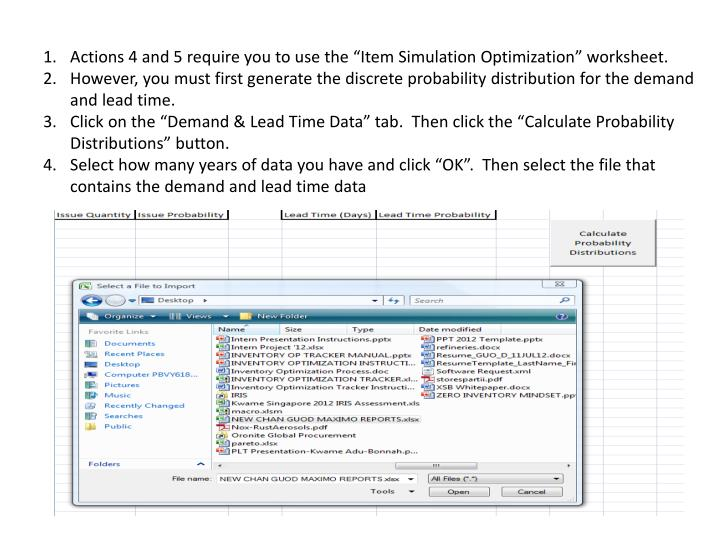 """Actions 4 and 5 require you to use the """"Item Simulation Optimization"""" worksheet."""