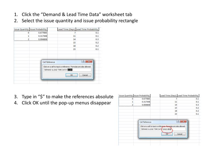 """Click the """"Demand & Lead Time Data"""" worksheet tab"""