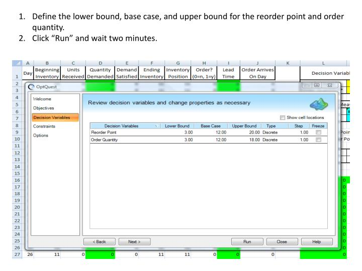 Define the lower bound, base case, and upper bound for the reorder point and order