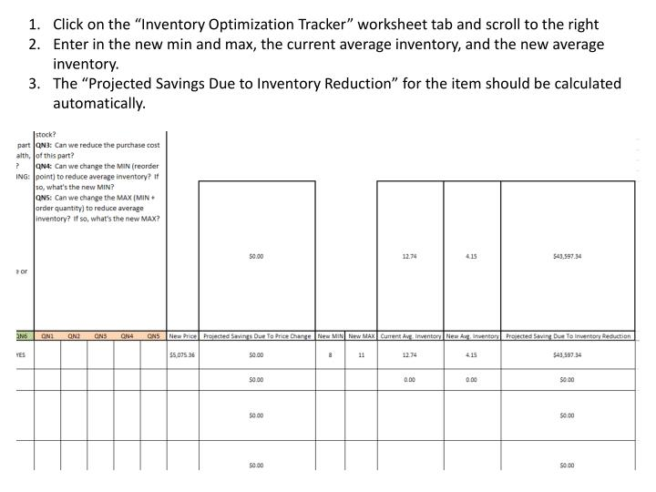 """Click on the """"Inventory Optimization Tracker"""" worksheet tab and scroll to the right"""