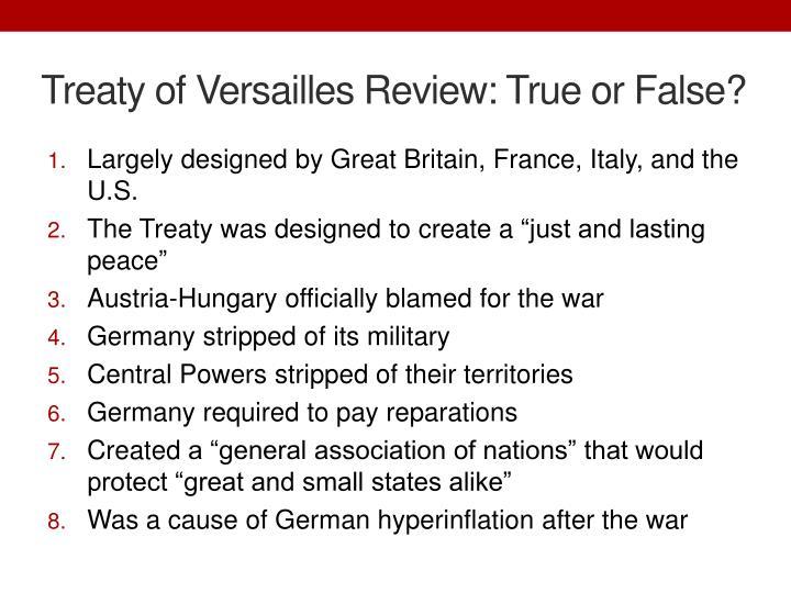 Treaty of Versailles Review: True or False?