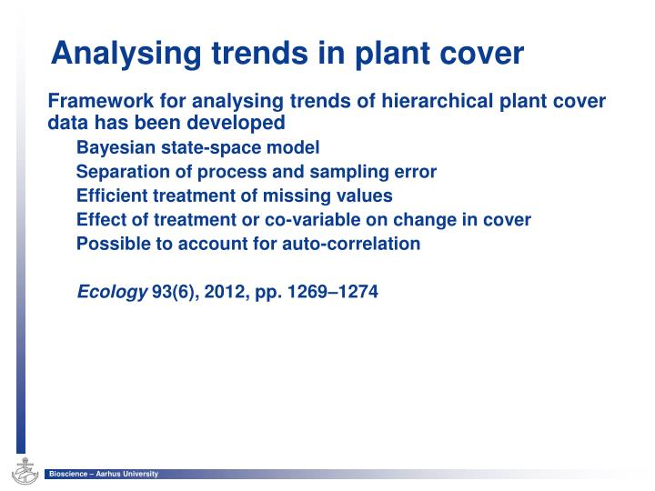 Framework for analysing trends of hierarchical plant cover data has been developed