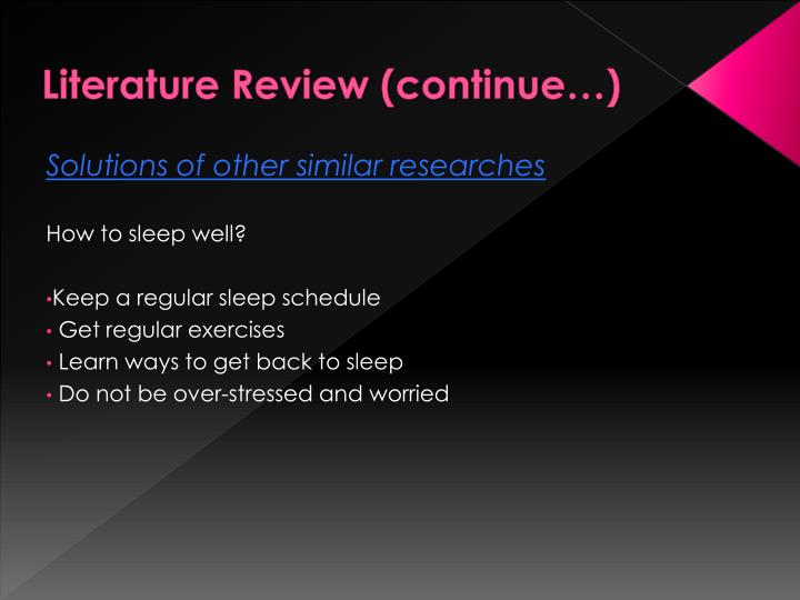 Literature Review (continue