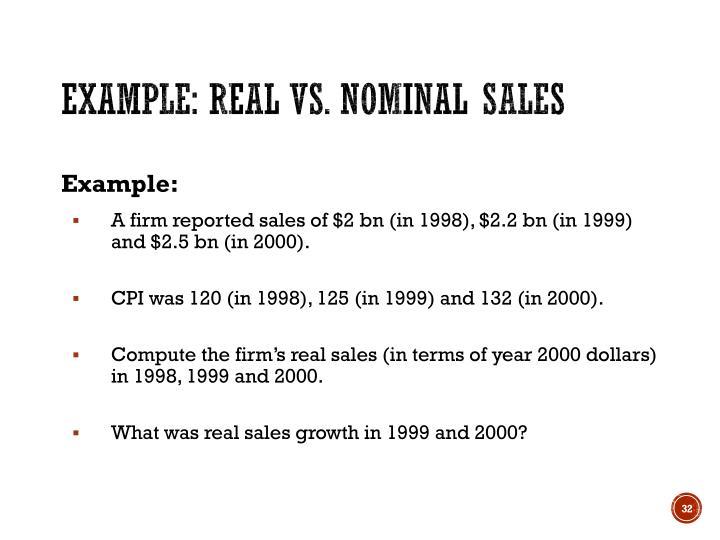 Example: Real vs. nominal sales
