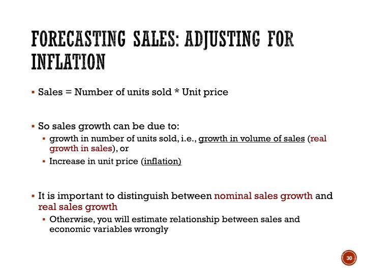 Forecasting sales: Adjusting for inflation