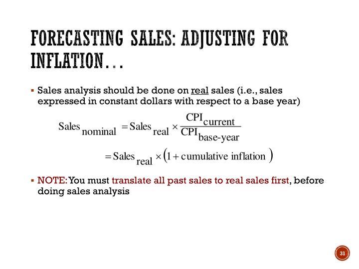 Forecasting sales: Adjusting for inflation…