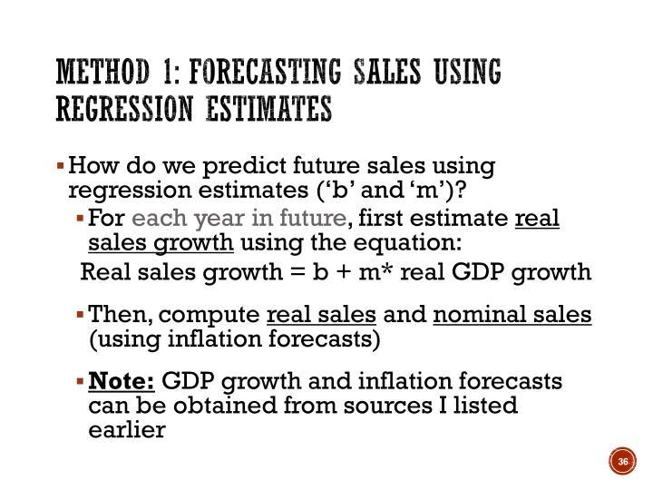 Method 1: Forecasting sales using regression estimates
