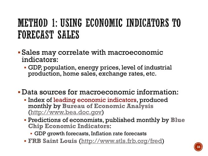 Method 1: Using economic indicators to forecast sales