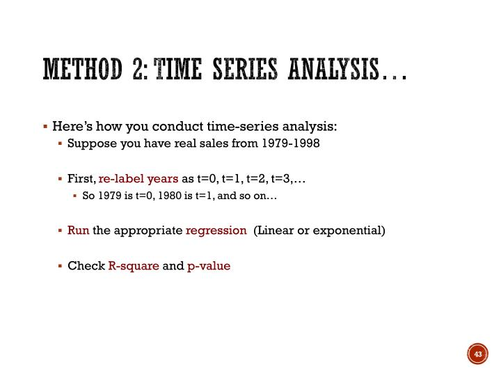 Method 2: Time Series Analysis…