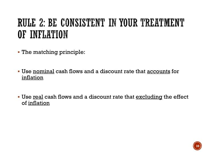Rule 2: Be consistent in your treatment of inflation