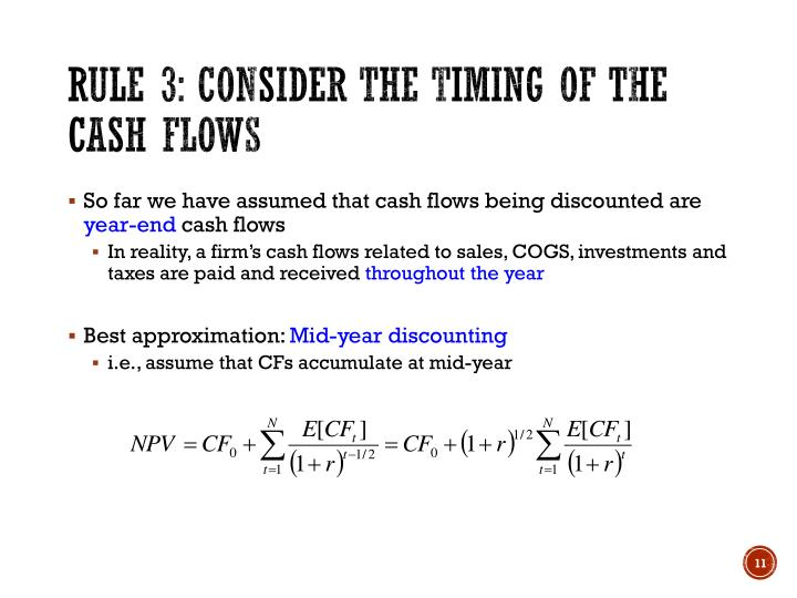 Rule 3: Consider the timing of the cash flows