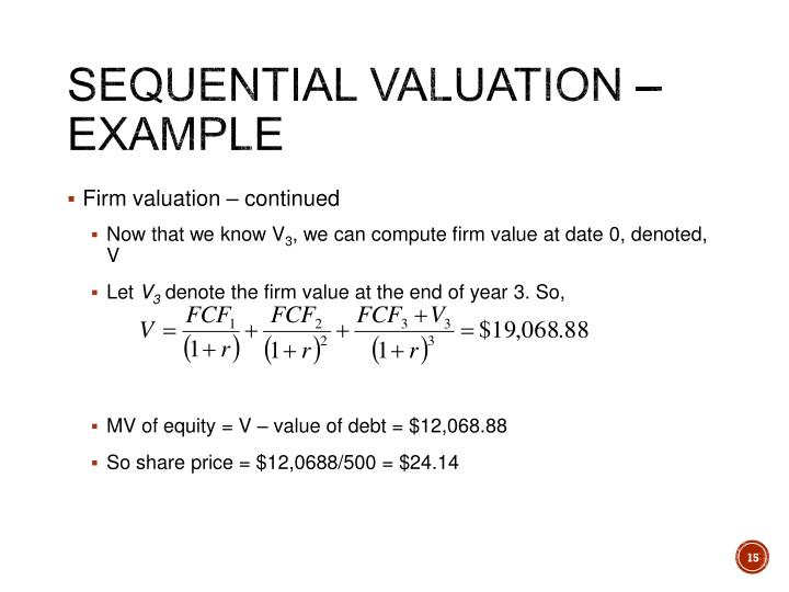 Sequential Valuation – Example