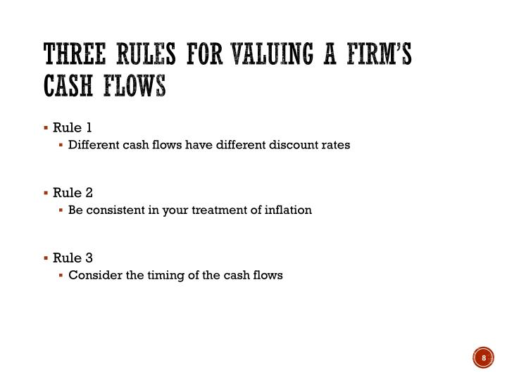Three rules for valuing a firm's cash flows