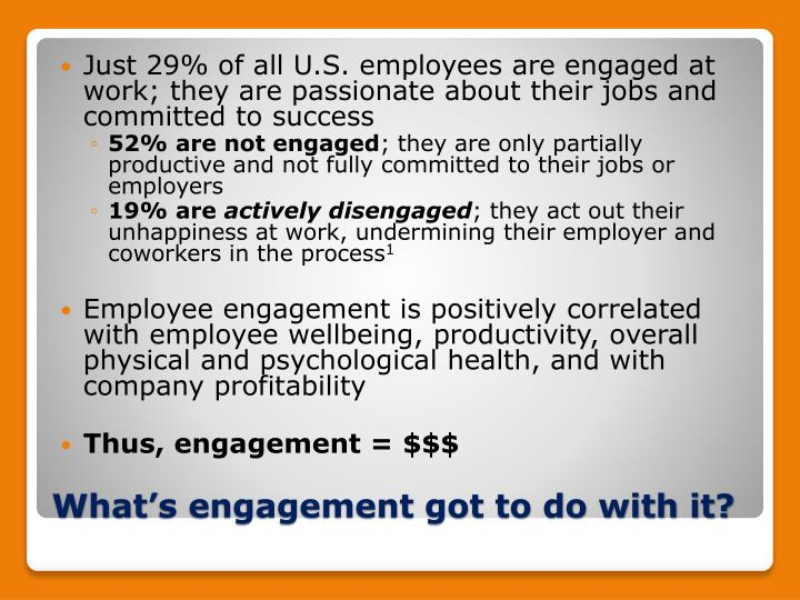 Just 29% of all U.S. employees are engaged at work; they are passionate about their jobs and committed to success