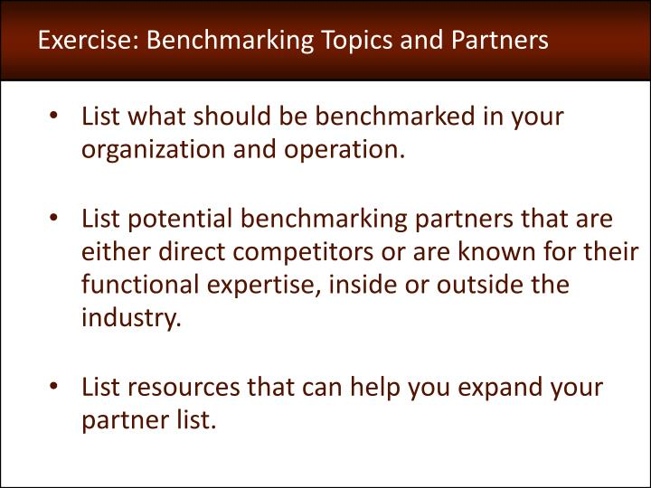 Exercise: Benchmarking Topics and Partners