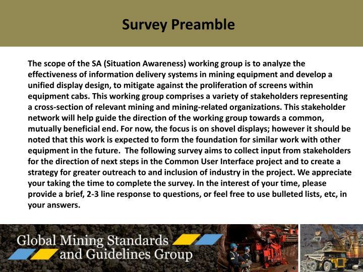 Survey Preamble