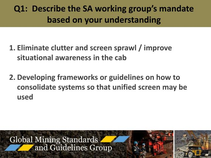Q1:  Describe the SA working group's mandate based on your understanding