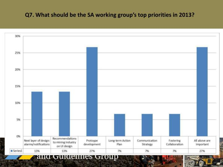 Q7. What should be the SA working group's top priorities in 2013?