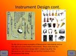 instrument design cont
