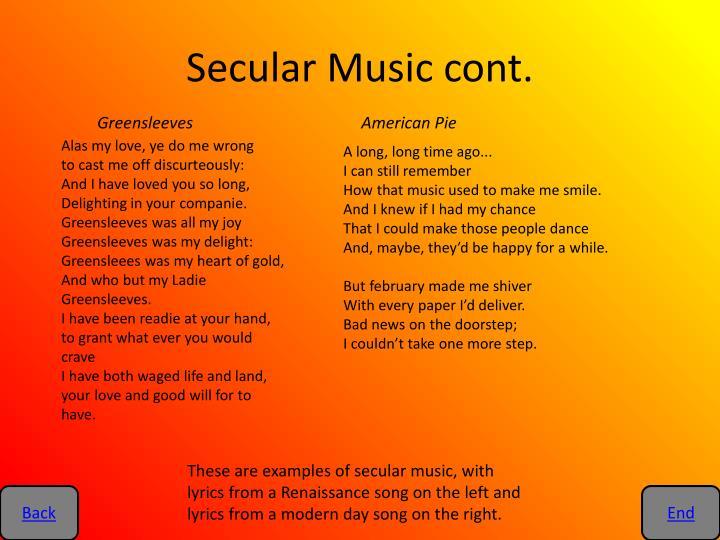 Secular Music cont.